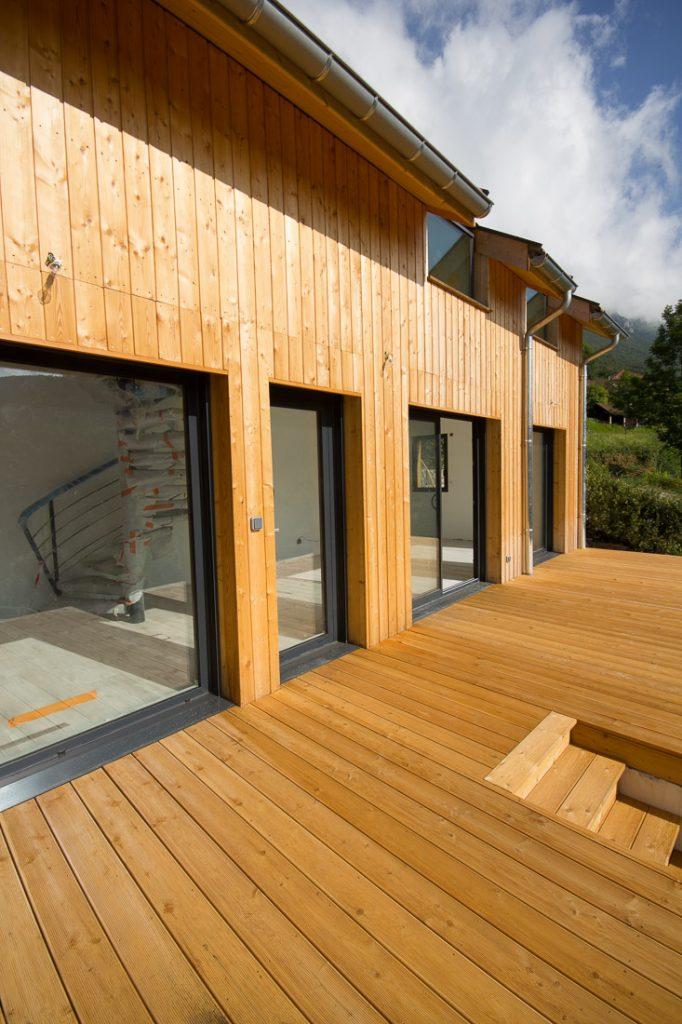extension maison ossature bois et verriere de toit velux