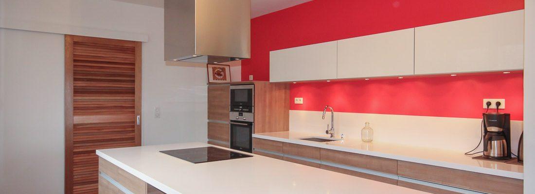 couleur architecture cuisine contemporaine rouge