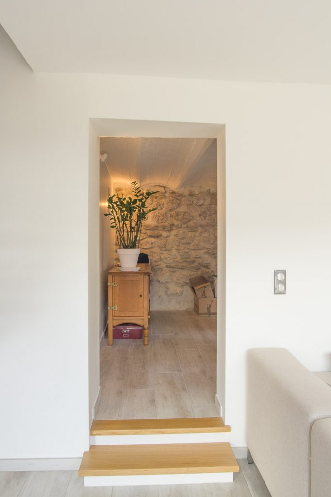 mur pierre carrelage imitation parquet